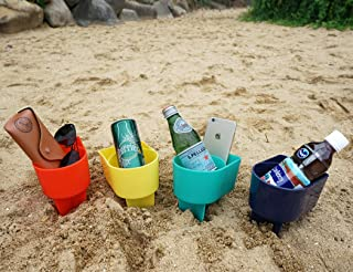 Home Queen Beach Cup Holder with Pocket, Multifunctional Sand Cup Holder for Beverage Phone Sunglass Key, Beach Accessory Drink Sand Coaster, Set of 4 (Navy, Teal, Yellow and Orange)