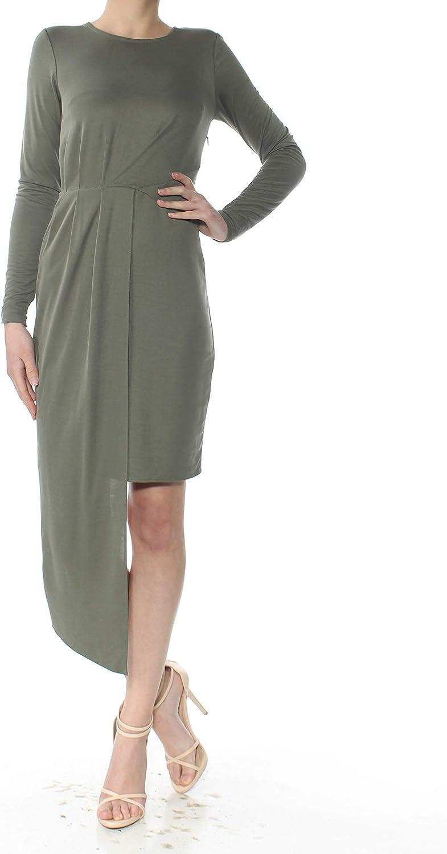 Bar III Women's Asymmetric Pleated Long Sleeve Mini Dress