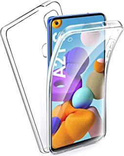 AROYI Funda Samsung Galaxy A21S, Ultra Slim Doble Cara Carcasa Protector Transparente TPU Silicona + PC Dura Resistente Anti-Arañazos Protectora Case Cover para Samsung Galaxy A21S