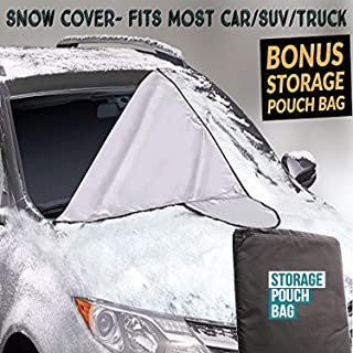 EcoNour Car Windshield Snow/Sun Cover for Ice, Snow, Frost, Sun Guard for Winter and Summer-Fits Car, SUV,& Truck-New 6X Magnets to Keep Wind&Snow Out-Bonus Storage Bag