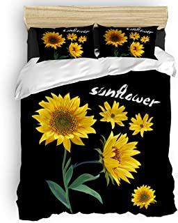 T&H Home 4Pc Duver Cover Set Full Size Sunflower Black Background Down Comforter Quilt Cover with Matching 1 Flat Sheet + 2 Pillow Shams - Modern Bedding Collection