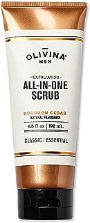 Olivina Men Exfoliating All-in-One Body Scrub, Bourbon Cedar, 6.5 Fluid Ounce