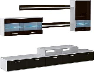 SelectionHome - Mueble salón Comedor Moderno Acabado en Blanco Mate y Negro Brillo Lacado Medidas: 250x194x42 cm de Fondo