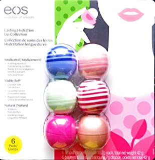 EOS Lip Balm 6 Pack - Wild-Berry Fruit, Sparkling Ginger, Coconut Milk, Cucumber Melon, Peppermint Scream, Smoothing Menthol