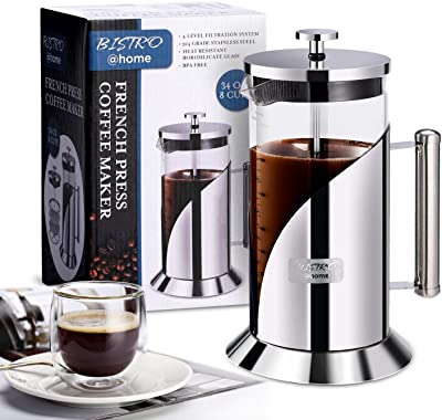 French Press Coffee Maker - 304 Grade Stainless Steel Coffee Maker - 4 Level Filtration System - Heat Resistant Borosilicate Glass - Coffee Press 34oz Bistro@Home