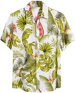 Camisetas Hawaianas Hombre Camisa Estampado Flores Hawaiana Botón de la Solapa Camiseta de Manga Corta Verano Casual Blusa...