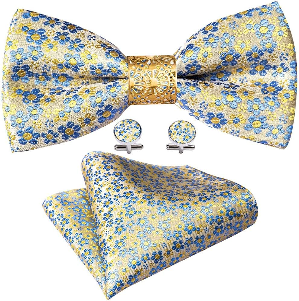 NJBYX Yellow Floral Silk Pre-Bow Tie For Men Wedding Accessorie Adjustable Butterfly Handky Removable Gold Ring Set (Color : Yellow Floral, Size : One size)