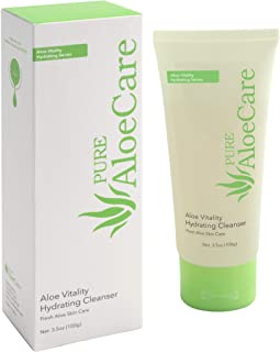 PURE AloeCare Organic Aloe Vera Vitality Hydrating Cleanser to Deeply Cleanse Skin with a Moisture Rich Lather - Mild and Non Irritating, 3.53 oz (100g)