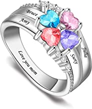 LIANZHEN Personalized Mothers Rings with 3-8 Name/&Simulated Birthstones Family Ring for Mother Grandmother Anniversary Rings for Women