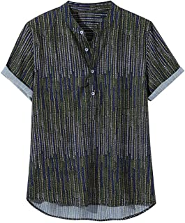 Mens Ethnic Printed Shirts Stand Collar Colorful Stripe Short Sleeve Button Loose Henley T Shirt Tops