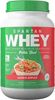 Spartan Whey: Best Rated Protein Powder Blend, Best Tasting Whey Protein Isolate, Concentrate and Micellar Casein Blend with AstraGin for Amino Acid Bioavailability, Jacked Apples, 2 pounds