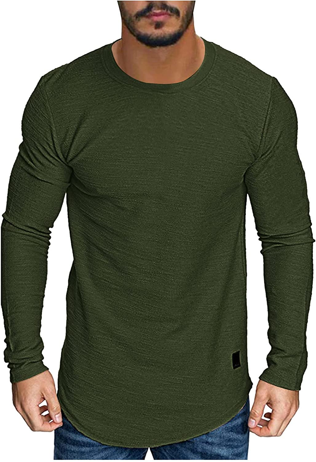 Mens T Shirts Casual Athletic Long Sleeve Shirt Muscle Gym Workout Yoga Tops Slim Fit Basic Top Tees Comfy T-Shirts