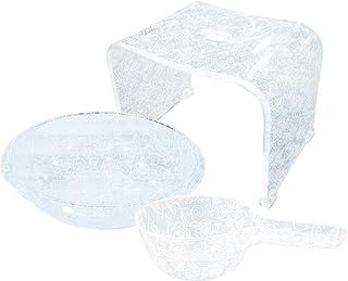 【セット買い】センコー 洗面器 M ホワイト+バスチェア +手桶