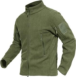 MAGCOMSEN Men's Windproof Stand-up Collar Warm Fleece Jacket with Zip Pockets