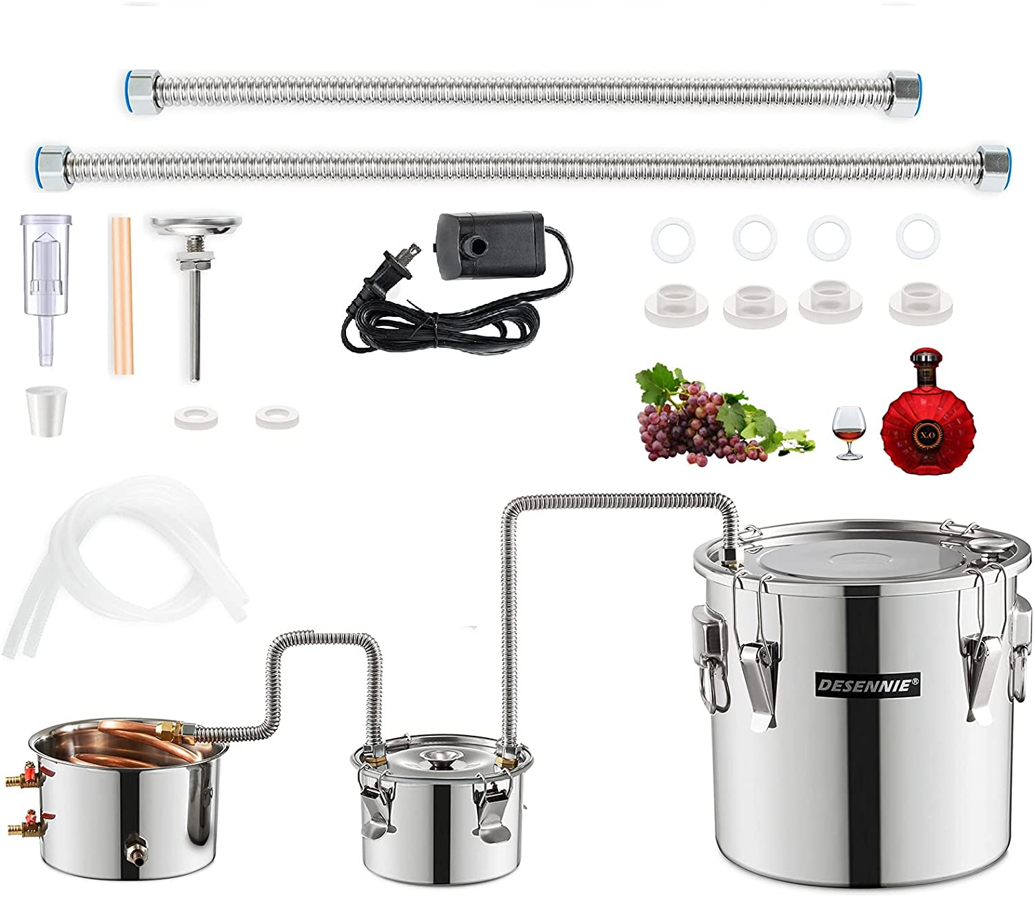 DESENNIE 5Gal 20L Moonshine Still with Electric Circulating Pump, Water Alcohol Distiller with Thumper Keg, Copper Tube Distiller, Home Brewing Kit, DIY Whisky Brandy, Extracting Essential Oils