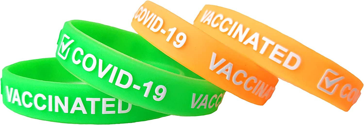4-Pack COVID-19 Vaccination Vaccinated Silicone Wristband Bracelet for Women Men Adults