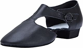 Linodes Women's T-Strap Leather Upper Jazz Shoe Split Sole with Elastics to Connect