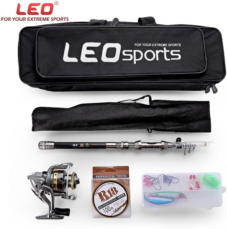 HAPQIN Leo Outdoor Outdoor Outdoor Angeln Spinning Reel Rod Kit Set mit Fisch-Linie lockt Haken Tasche B07FM25VY5  Qualifizierte Herstellung 110789
