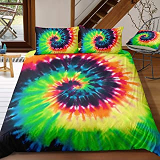 ADASMILE A & S Rainbow Tie Dye Bedding for Girls Kids Tie Dyed Duvet Cover Set Orange Green Psychedelic Swirl Pattern Prin...