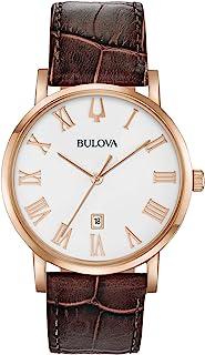 Bulova - Hombre 97B184 Reloj con correa de cuero marrón