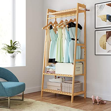 Wisfor Bamboo Garment Rack 3 Tier Coat Stand with Shelves Side Clothing Hangers Clothes Rack with Wheels Hat Shoe Storage Organiser for Entryway Laundry Room 78 x 41 x 169cm