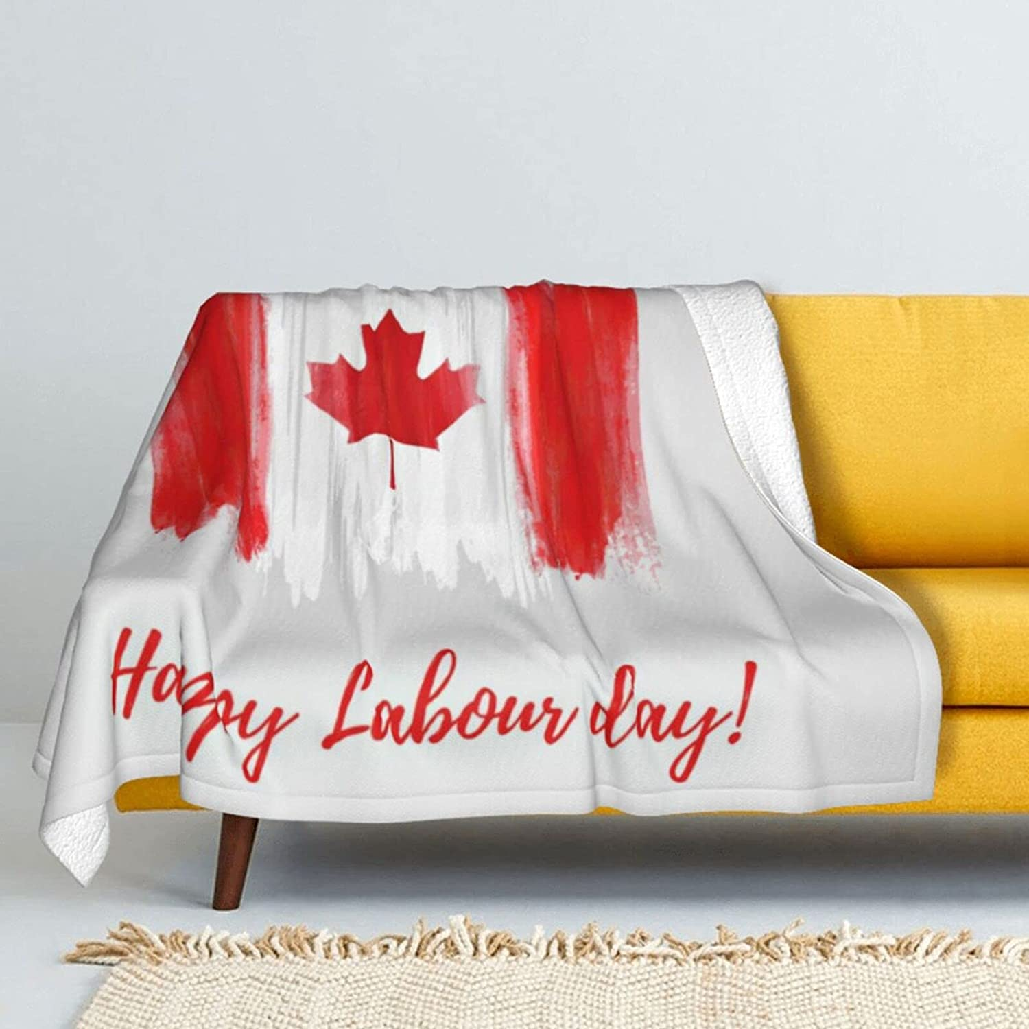 Happy Labour Day Lamb Wool supreme Soft Throw Super Max 86% OFF Double-Sided Blanket