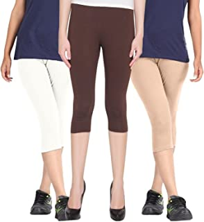Rooliums Brand Factory Outlet Womens Super Fine Cotton Capri Combo Pack of 3, 4 Way, 190 GSM - Free Size ((White, Brown and Beige)