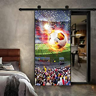 TYHMTY 3D Door Sticker PVC Wallpaper HD Huge Football Field Mural Living Room Study Room Self Adhesive Waterproof Wall Sticker-77200