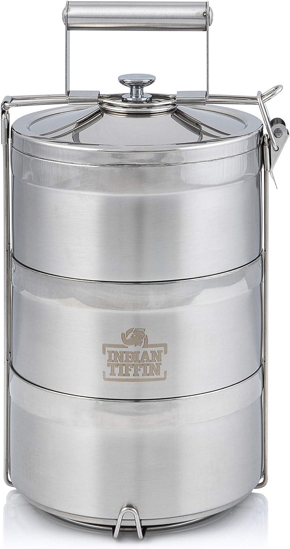 Eco-Box - Juego de 3 cubiertos de acero inoxidable indian-Tiffin, 3 niveles, con cubiertos