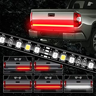 JUNEVEN Tailgate Light Bar 60 Inch Truck Brake Flexible Strip Trailer Tail Lights Turn Signal Reverse Back Up Stop Running Light for Pickup RV SUV Van Car Jeep, Red/White, No Drill Needed