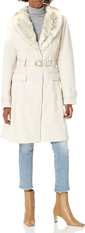 City Chic Women's Apparel Women's Longline Structured Coat with Faux Fur Detail