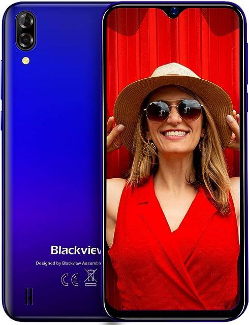 Blackview A60 Teléfono Móvil 16GB ROM (128GB SD) Pantalla 6.1 (19.2:9) Water-Drop Screen Movil 13MP+2MP+5MP 4080mAh Batería Android 8.1 Smartphone Libre Dual SIM GPS/WiFi/Hotspot-Azul