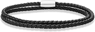 Miabella Genuine Italian Double Wrap Braided Leather Bracelet for Men Women Stainless Steel Magnetic Closure, Made in Italy