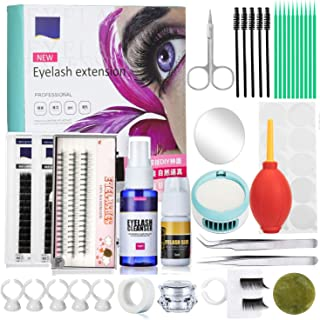 Homost Eyelashes Extension Set, Training Makeup Kits False Eyelashes Extension Tool Practice Kit for Makeup Practice Eyelashes Graft Air Puffer Blower Mini Fan with Mirror