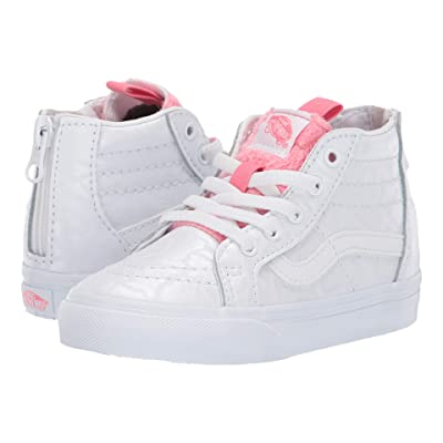Vans Kids Sk8-Hi Zip (Toddler) ((White Giraffe) True White/Strawberry Pink) Girls Shoes