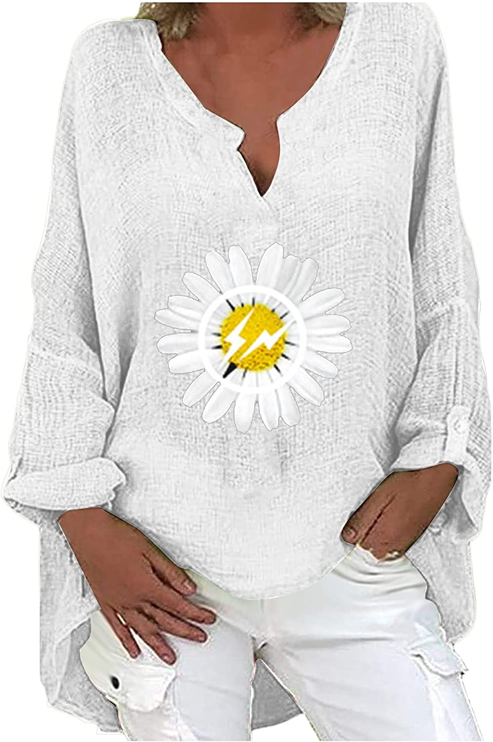 BOXIACEY Sweatshirts Women Long Sleeve Blouses for Women Fashion Casual V-Neck Shirts Loose Cotton Linen Printing Pullover