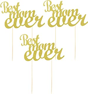 BinaryABC Mother's Day Best Mom Ever Cake Topper,Mother's Day Birthday Cake Decorations,Gold Glitter,3Pcs
