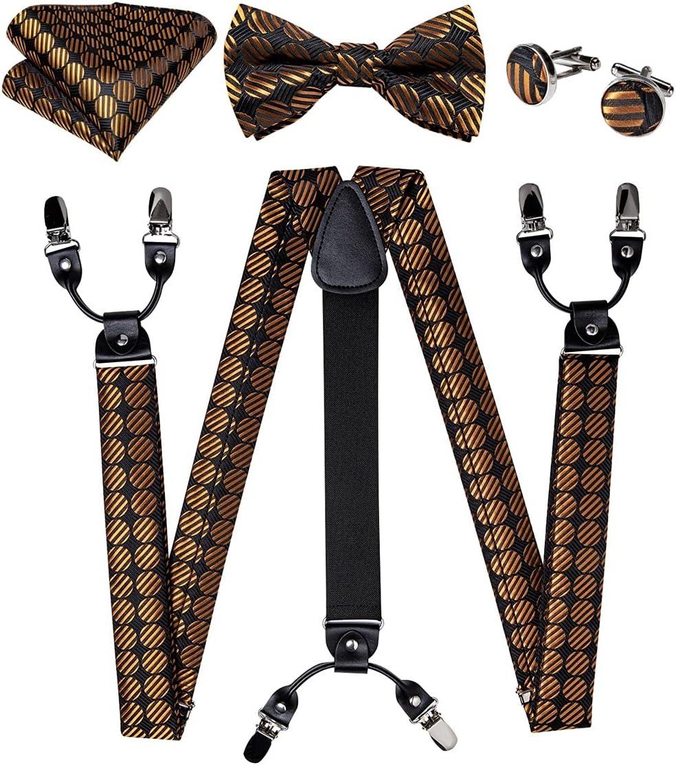 NJBYX Fashion Silk Men's Pants Suspender Gold Black Suspender Bow Tie Leather Metal 6 Clips Suspender Braces Suit Accessories (Color : A, Size : Adjustable)