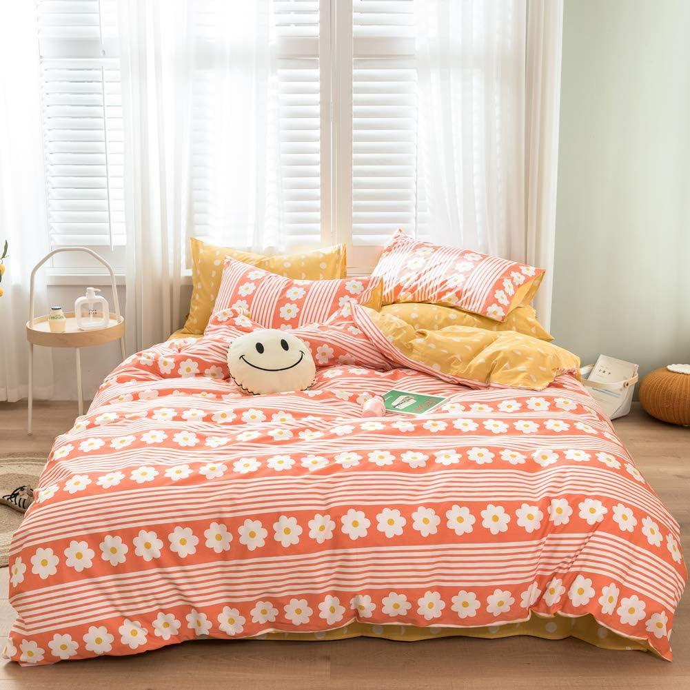 LAYENJOY Garden Duvet Cover Set Twin 100/% Cotton Bedding Cartoon Flower Floral Pattern Print on Light Green 1 Botanical Comforter Cover with Zipper Ties 2 Pillowcases for Kids Teens Boys Girls