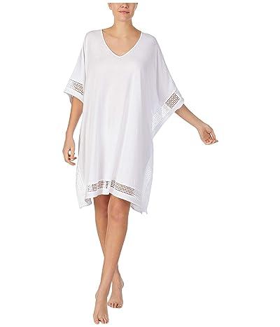 Donna Karan Cotton Jersey Short Caftan (White) Women