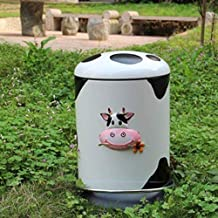 AINIYF Trash Can Household Pedal Box Round Stainless Steel Waste Paper Basket with Cover Buffer Cartoon Creative Trash Con...