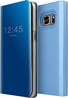 Galaxy S7 Case, AICase Luxury Translucent View Window Front Smart Sleep/Wake Up Function Mirror Screen Flip Electroplate Plating Stand Full Body Protective Case for Samsung Galaxy S7 (Blue)
