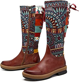 socofy Leather Knee Boots, Women's Bohemian Splicing Pattern Flat Knee High Boots