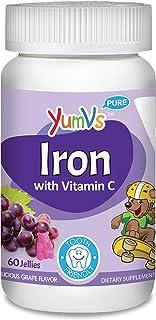 YUM-V's Iron Jellies/Gummy Bears for Kids w/Vitamin C, Grape Flavor Chewables; Daily Dietary Supplement for Children, Vega...