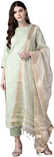 INDO ERA Women's rayon Straight Kurta sets With Trousers (Green)