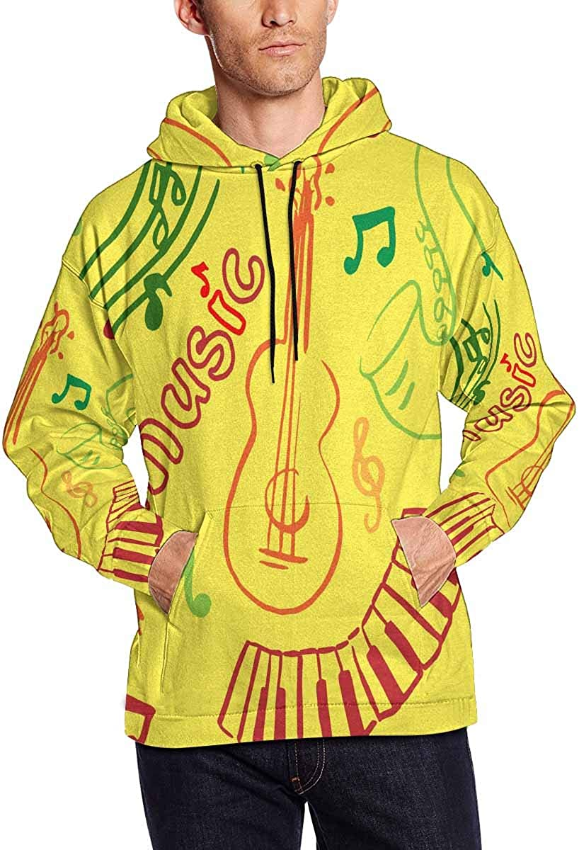 InterestPrint Max 83% OFF Men's Music with Manufacturer direct delivery Sweatsh Hoodies Background Yellow