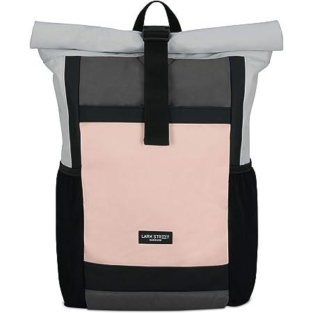 LARK STREET Rucksack Damen & Herren Rosa Grau No 2 Rolltop Backpack für den Alltag Uni Job Schule Fahrrad Freizeit – Recycelt & Wasserabweisend mit Laptopfach