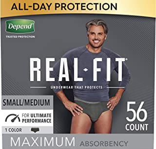 Depend Real Fit Incontinence Underwear for Men, Maximum Absorbency, Disposable, Small/Medium, Black, 56 Count (Packaging M...