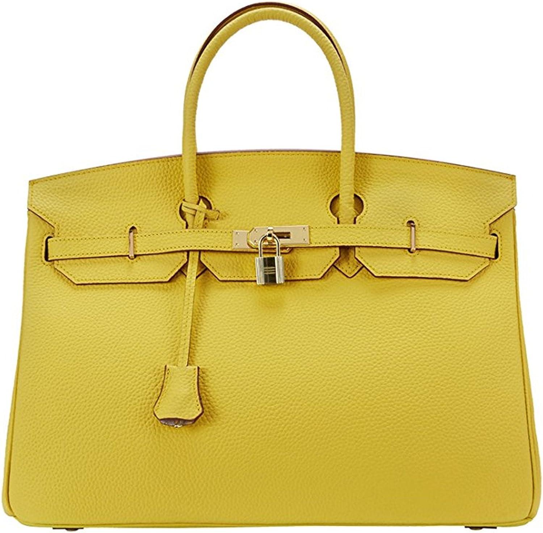 40cm Oversized Padlock Business Office Top Handle Handbags Lemon Yellow