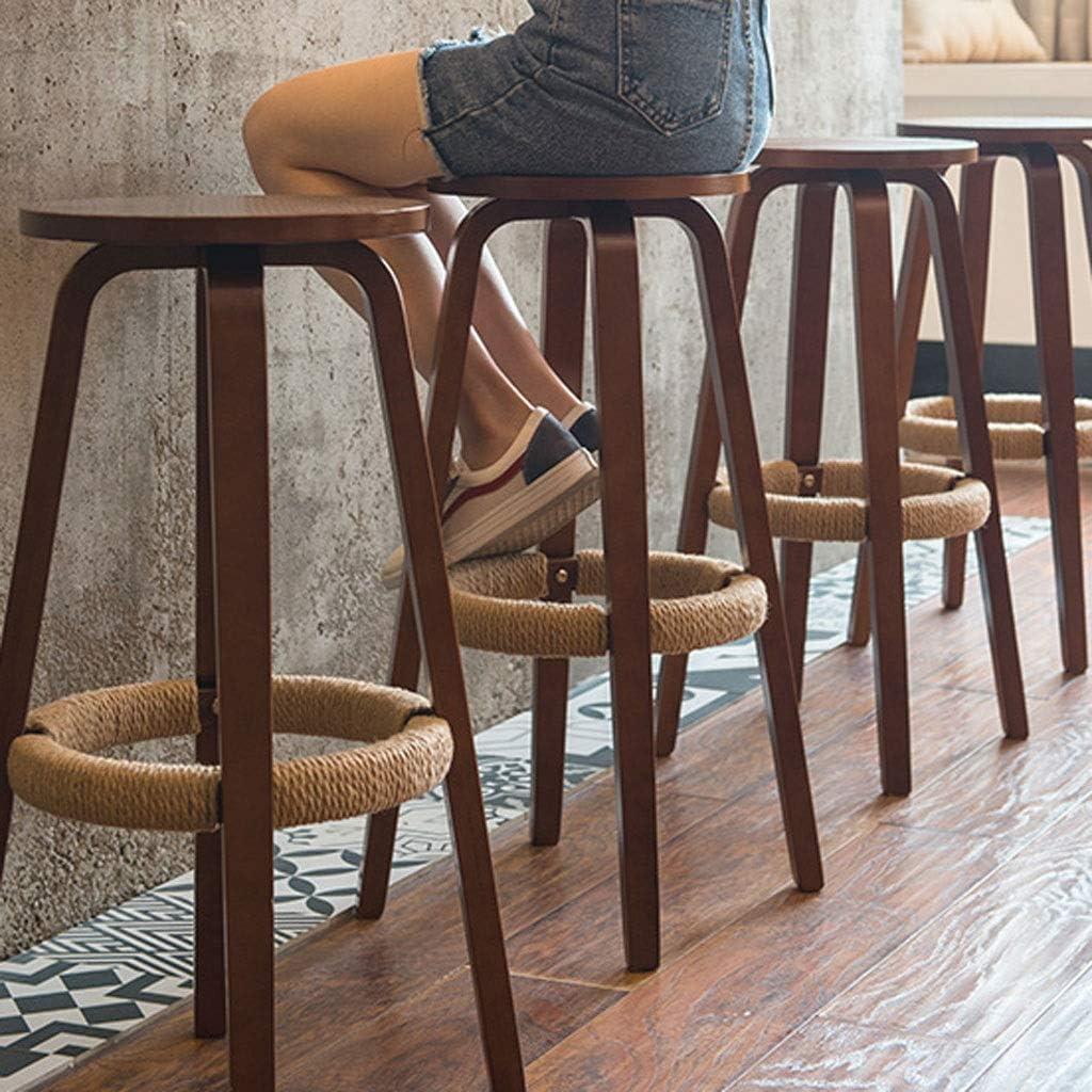 Tabourets Bar pivotant en bois massif Chaises Siège, Comptoir Faux cuir Loisirs Petit déjeuner Salle à hauts tabourets for Pub Kitchen Cafe Stool (Color : Wood color) Brown